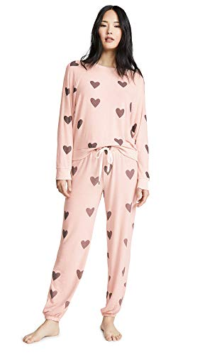 Honeydew Intimates Women's Heart PJ Set, Fantasy, Pink, Print, Large