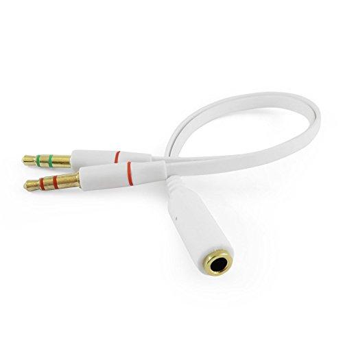 iXium® 3,5 mm Vrouwelijke naar 2 Mannelijke Hoofdtelefoon Headset Microfoon Y Splitter Audio Adapter Kabel voor PC Computer en Laptop, Kleur: wit