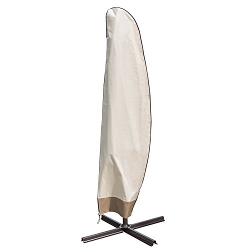 Sundale Outdoor Heavy Duty Patio Offset Cantilever Umbrella Cover Parasol Cover for 9-10 ft Umbrella, Water Resistant, Beige