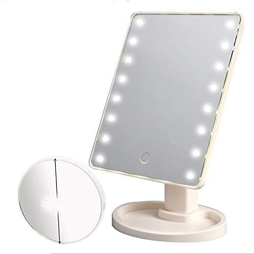 Symboat Miroir pour Maquillage avec Lumiere Miroir Maquillage LED Miroir, Luminosité réglable intelligente 16 lampes LED miroir de maquillage 10x éclairé Intelligent Adjustable Brightness Mirroir