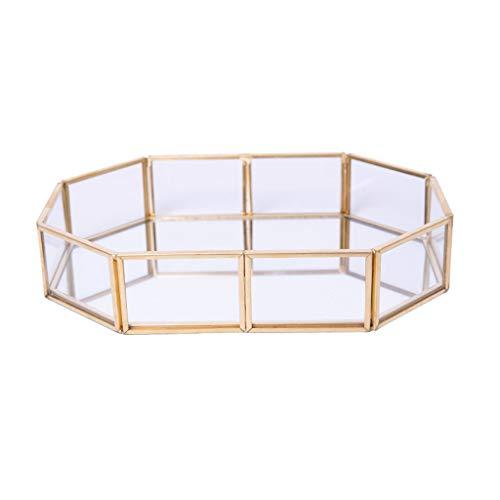 ZJL220 Bandeja de joyería cuadrada octogonal dorada con espejo, plato, anillo, aretes, bandeja de tocador decorativa para exhibición de joyas