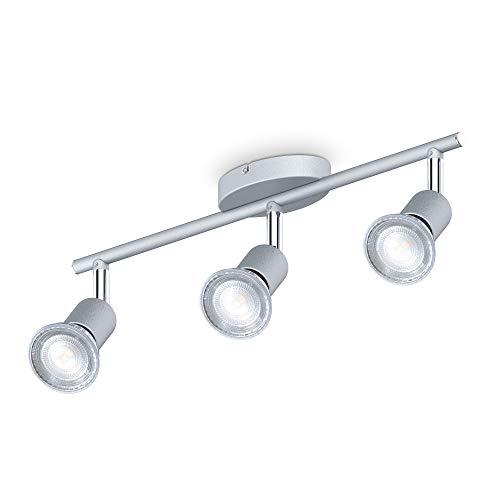B.K.Licht Faretti LED da soffitto orientabili, include 3 lampadine LED GU10 da 5W 400Lm, luce bianca neutra 4000K, plafoniera moderna in metallo, lampada da soffitto color titanio IP20