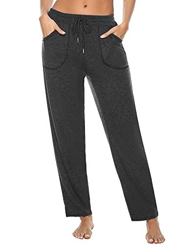 iClosam Pantalón Chándal Mujer Algodón Largo Pantalones Deportivos Verano Casual con Bolsillos y Cordón para Yoga Jogger Fitness y Gimnasio (XXL, Gris Oscuro)