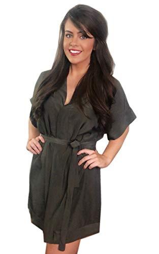 Angashion Damen Sommerkleid V-Ausschnitt Blumenkleid Kurze Ärmel Blusenkleider Lose Strand Kleider mit Gürtel 031 Graugrün XL