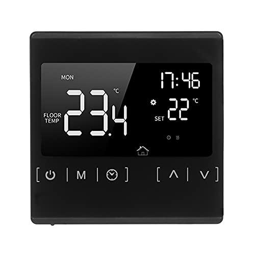 Termostato inteligente con pantalla táctil para el hogar Sistema de calentamiento de agua eléctrico programable Termorregulador AC 85-250V Controlador de temperatura Termostato de solo calor