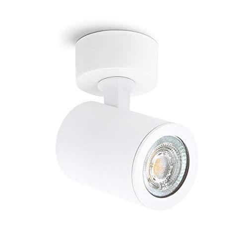 linovum TENJO Wandstrahler Spot Decke weiß rund mit GU10 LED 6W warmweiß - 230V Deckenspot Innen schwenkbar drehbar für Innen