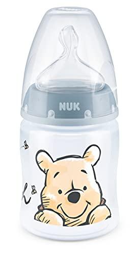 NUK First Choice+ - Biberon Disney Winnieh the Pooh | 0-6 mesi | Display di controllo della temperatura | 150 ml | Valvola anti-colica | Senza BPA | tettarella in silicone | Blu