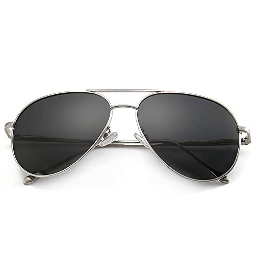 occhiali da sole donna a goccia SUNGAIT Leggero Occhiali da Sole Donna Polarizzati Occhiali Vogue Donna - Polarizzato Lente (Telaio / Lens Grey Argento)
