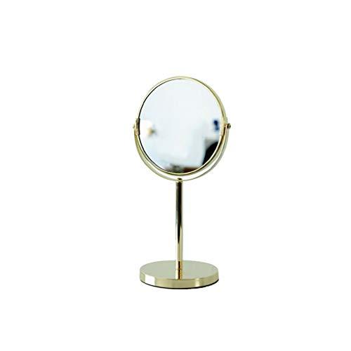 Decorative mirror-QFF Miroir décoratif en métal, Salon de beauté Bureau Double Miroir Salle de 2X Miroir Grossissement Beauté de luxe de style 17 * 35cm Miroir (Color : Gold, Size : 17 * 35CM)