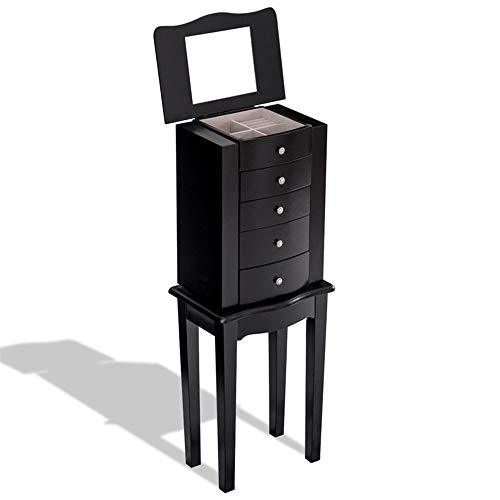L&WB Caja de Pecho Negro joyería Armario, Flip Top Espejo de Maquillaje 5 cajones Organizador para su Todo Tipo de Joyas