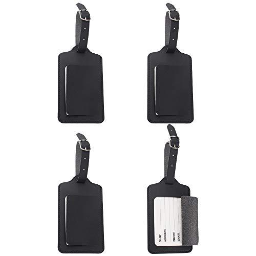 chudian 4 Stuks Bagage Tags, Lederen Bagage Tags met Naam Tag Adres Koffer Tags Zwarte Bagage Labels Reizen Bagage Tags voor koffer Bagage Bag