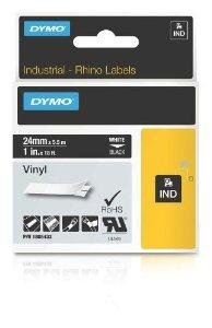 New Dymo Rhino 1in Black Vinyl-24mm