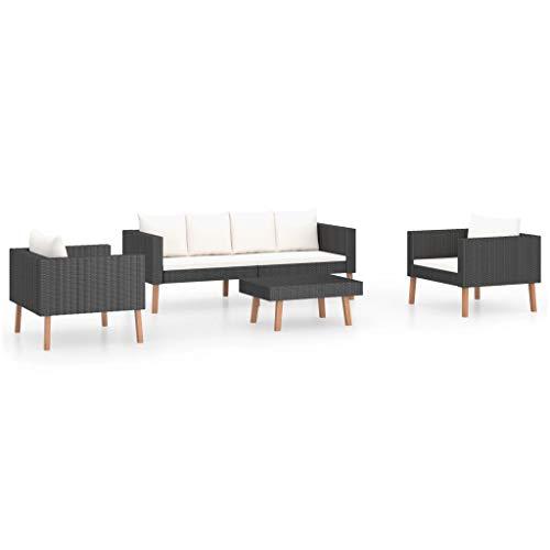 vidaXL Set de Muebles de Jardín 4 Piezas y Cojines Mobiliario Exterior Hogar Cocina Terraza Mesa Silla Asiento Suave Respaldo Ratán Sintético Negro