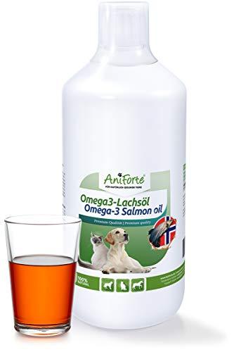 AniForte Omega-3 Lachsöl 1 Liter für Hunde, Katzen und Pferde, Kaltgepresst, Reich an EPA, DHA und ALA Fettsäuren, Natur Pur, Barf Ergänzung