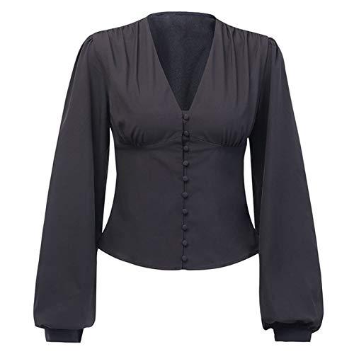 CHENGTAO Blusas Mujer Sexy Profundamente Profundo Botón Negro Linterna Manga Larga Otoño Nuevo Elegante Camisa Camisa Superior (Color : Black, Size : S.)