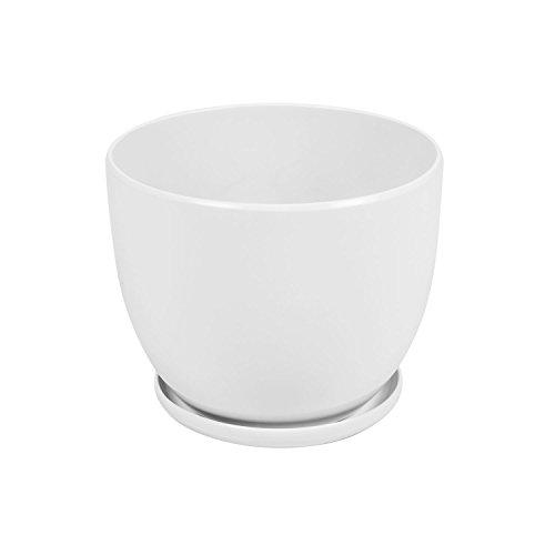 Vaso BARILOTTO 3 in ceramica con sottovaso, diametro 19 cm, colore: bianco