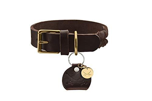 HUNTER SANSIBAR SOLID Hundehalsband, Leder, strapazierfähig, griffig, geflochten, 50 (S-M), dunkelbraun
