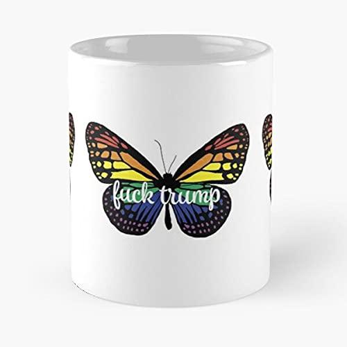 Liberal Cursive Anti Butterfly Rainbow Trump Animal Colorful - Coffee Mug 11 oz, 15 oz Premium Quality Ceramic printed coffee mug - Impressive design for Customize !