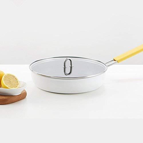 ZLDGYG Alliage d'aluminium série Porcelaine Blanche Wok antiadhésif poêle à Frire marmite Moins de vapeurs céramique extérieure