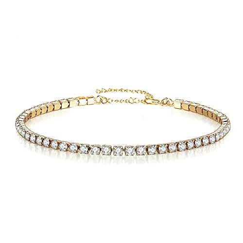 JEFEYI Pulseras Minimalistas de Tenis de Cristal de Acero Inoxidable para Mujer, Pulsera de Cadena de Cristal de Diamantes de imitación Simple, joyería de Color Dorado