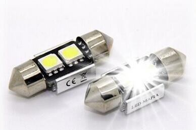 2 luces decorativas LED blancas de 30mm para interior de vehículo, C5W 5050 SMD chip (blanco)
