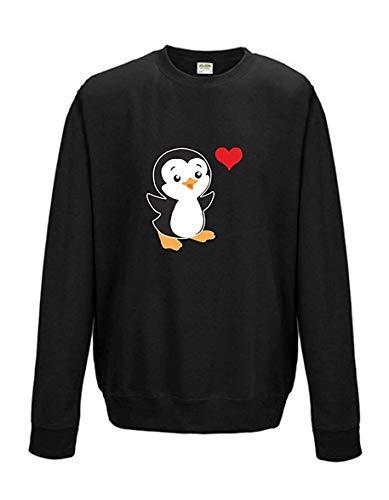 Livingstyle & Wanddesign Sweatshirt Shirt Pullover Pulli Unisex Pinguin Herz Schwarz, Gr. XL