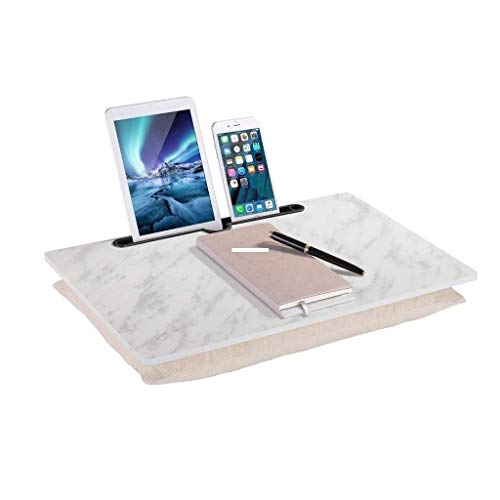 Portable Lap Desk, Home Office Table Tray w/Burlap Cushion and Holder Slot Fits up to 15.6 Inch Laptops 0919
