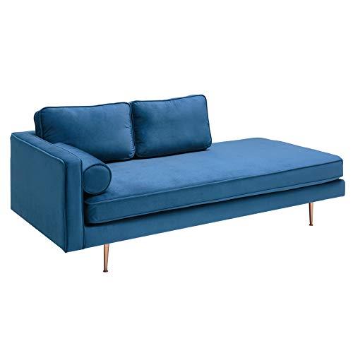 riess-ambiente.de Elegante Récamière Diva 196cm dunkelblau Samt roségoldene Füße Sofa Daybed Sofaliege