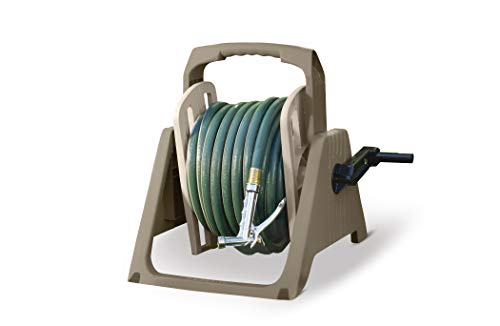 Suncast 100 ft. Tote or Wall Mount Resin Garden Hose Reel with Lid, Taupe