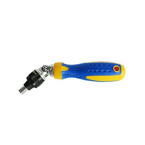 Destornillador multipuntas ajustable con trinquete ¼ de rotación de 180 °, ángulo de 0 a 90 °. Destornillador magnético y con agarre renforzado.