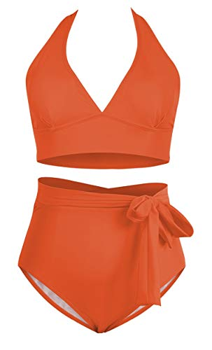 Women's 2 Pieces Plus Size Swimwear High Waist Halter Bikini Swimsuits Neon Orange 3XL