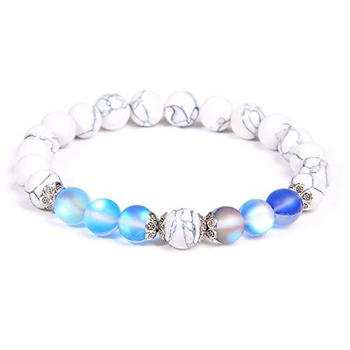 KEJI Women Fashion Natural White Turquoises Bracelets Ladies Yoga Elasticity Accessories Charm Round Beaded Stone Bangle Jewelry Gift