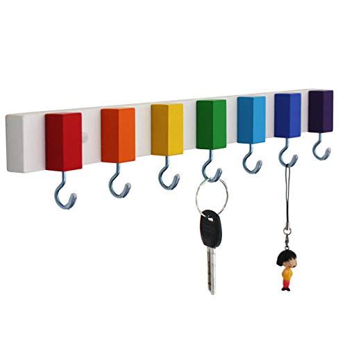 WANDOM creatieve massief hout kunstdecoratie regenboog kleur vrij punch deur schoenenkast veranda deur sleutelhaak aan de muur