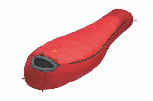 Alexika Nord - Saco de dormir con cremallera derecha, color rojo