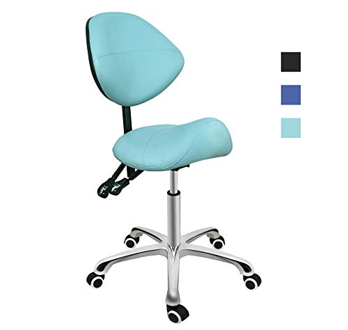 Grace & Grace Professional Saddle Stool Series with Backrest Hydraulic Swivel Comfortable Ergonomic with Heavy Duty Metal Base for Clinic Dentist Spa Massage Salons Studio (Green)