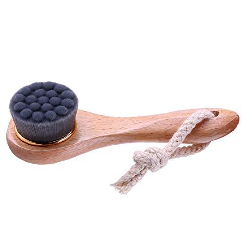 Manuel du visage Brosse de nettoyage Brosse visage charbon de bambou Soies Poignée en bois pour laver le visage profond Pore Exfoliation Wash Maquillage Masser Brosse