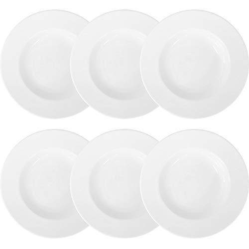 Doriantrade 6 Stück Essteller Suppenteller Teller tief 22 cm 6er Set Roma Porzellan Haushalt Gastronomie Geschirr