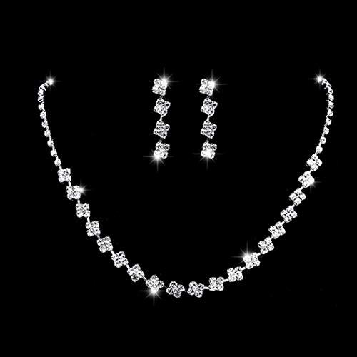 Ushiny - Set di collana e orecchini da sposa in argento con cristalli, collana e orecchini da sposa con strass, collana girocollo e catena accessori per donne e ragazze (587 #)