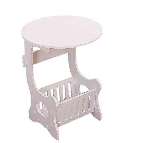 VOSAREA Mini Holz Beistelltisch Schlafsofa Beistelltisch Wohnzimmer Schlafzimmer Balkon Freizeit Magazin Tisch mit Korb