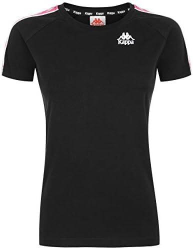 T-Shirt Donna Nerofuxia Girocollo con Bande e Stampa