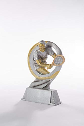 Henecka Tennis-Pokal, Resinfigur Tennis, Silber Gold, mit Wunschgravur, Größe 17 cm