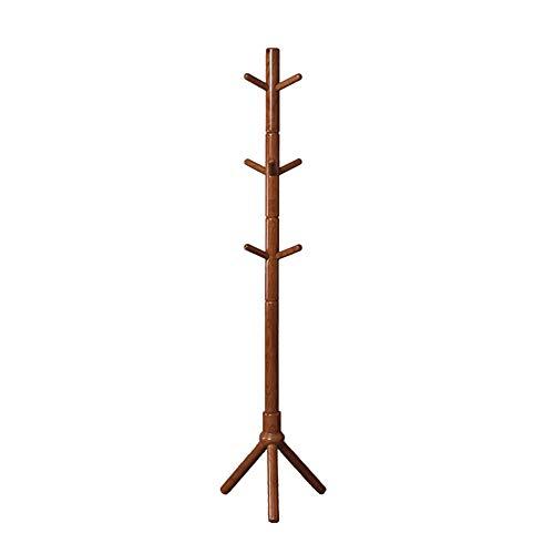 YHDP vrijstaande garderobe, massief hout, afneembaar, eenvoudige montage, kledingrek, slaapkamer, vloer-plafond-ophanger, bruin 70,9 inch