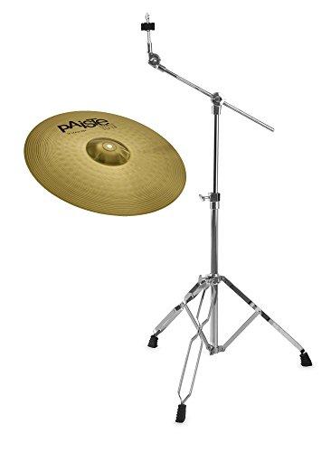 """Paiste 101 Brass 18\"""" Crash Ride Set (MS63 Messing, ausgewogener Klang, für jede Stilrichtung geeignet, inkl. Galgenbeckenständer)"""