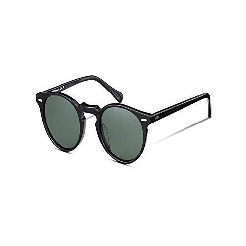 Gafas de sol deportivas, gafas de sol vintage,Retro Round Polarized Sunglasses For Men And Women Vintage Driving Outdoor Gregory Peck Oval Sun Glasses Light Acetate With Case black green