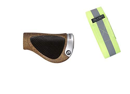 Bike A Mile Ergon GP1 Grips GP2 Grips GP3 Grips GP4 Grips GP5 Grips with Reflective Armband (GP1 BioKork Grips - Black/Tan, Gripshift, Large)