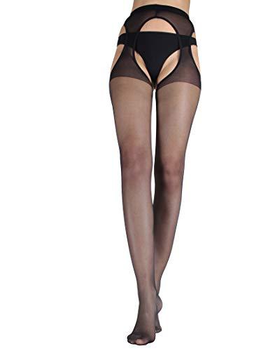 WOOTI TIGHTS Collant Strip Panty Setificato GUSTOSA S Nero 15 den, Calza Sexy, Elegante, Resistente, Morbido, Comodo, Confortevole, Velata, Disponibile nei colori Nero, Playa, Rosso