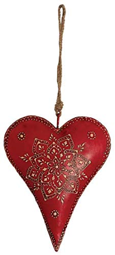 AUBRY GASPARD Coeur Rouge en métal et Corde à Suspendre 20 cm