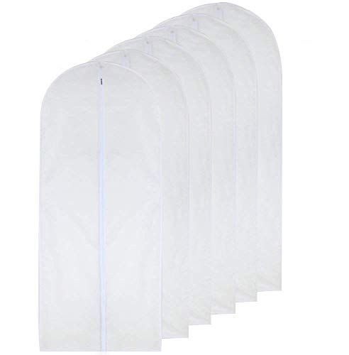 HomeClean Garment Bag Clear for Long Dress 24'' x 60'' Moth Proof Garment Bags White Breathable Full Zipper Dust Cover for Clothes Storage Closet Pack of 6