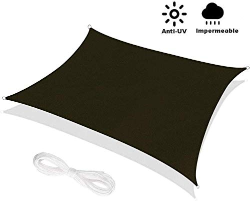 WEDSGTV Rectangular Shade Sail Waterproof Canvas 95% UV Protection For Outdoor Camping Terrace Lawn Garden,Black-2x2m(6.6x6.6ft)