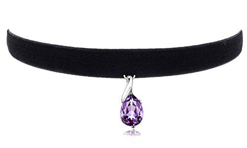 Cozylife 3/8' Girls Black Velvet Choker Necklace with Purple Crystal Pendant
